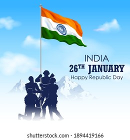 illustration of Indian Army soilder holding flag of India with pride for 26th January Happy Republic Day of India
