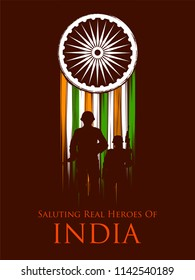 illustration of Indian Army soilder nation hero on Pride of India background