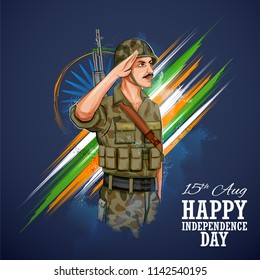 illustration of Indian Army soilder saluting flag of India with pride