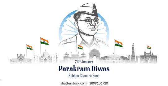 illustration of Indian background with Nation Hero and Freedom Fighter Subhash Chandra Bose Pride of India for 23rd January
