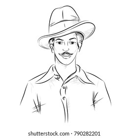 illustration of Indian background with Nation Hero and Freedom Fighter Bhagat Singh on isolated white backdrop