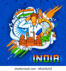 illustration of Indian background with people saluting with famous monument Red Fort for Independence Day of India