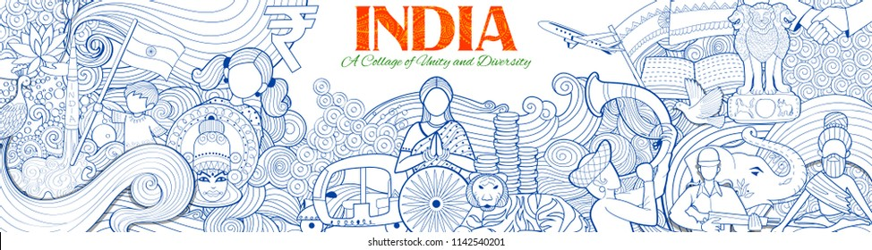 illustration of Indian background showing its incredible culture and diversity for15th August Independence Day of India