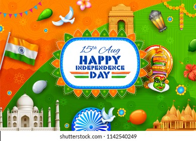 illustration of Indian background showing its incredible culture and diversity for 15th August Independence Day of India