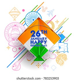 illustration of Indian background with tricolor kites  for 26th January Happy Republic Day of India