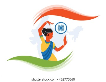 illustration of Indian classical dancer creating abstract India flag
