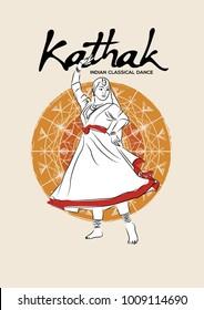 Illustration of Indian classical dancer performing kathak.