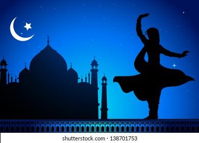 illustration of Indian classical dancer performing kathak infront of Taj Mahal