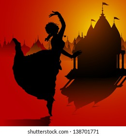 illustration of Indian classical dancer performing in temple