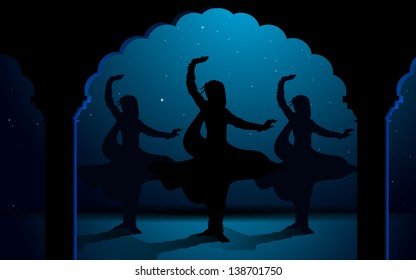 illustration of Indian classical dancers performing kathak