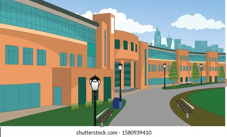Illustration of Indian corporate building