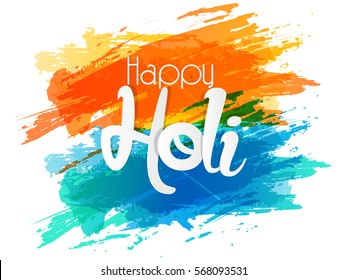 Illustration of Indian festival Holi celebrations with beautiful and creative colours splash background.
