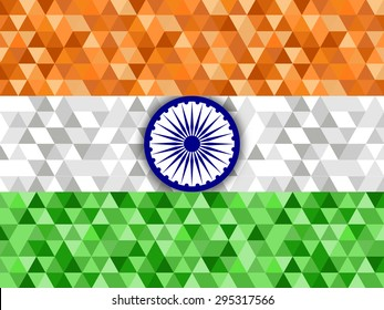 Illustration of Indian flag for the celebration of Independence day and republic day.