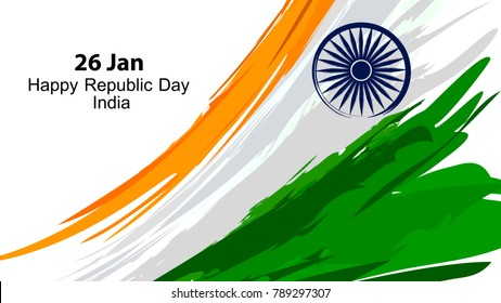 "Illustration of indian flag in vector paint style ""happy republic day India"""