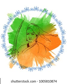 illustration of Indian freedom fighter rani laxmi bai ( Rani of Jhansi )