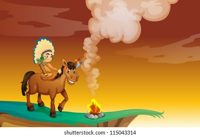 illustration of an Indian and a horse in a beautiful nature