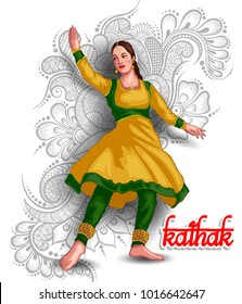 illustration of Indian kathak dance form