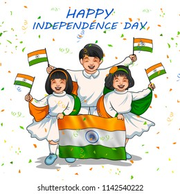 illustration of Indian kid holding flag of India with pride for 15th August Happy Independence Day of India