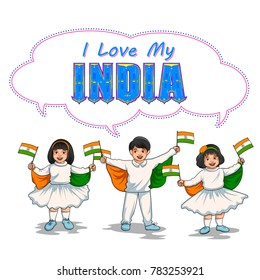 illustration of Indian kid holding flag of India with pride