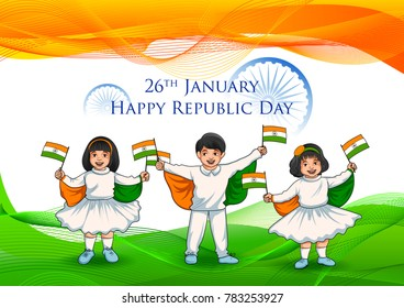 illustration of Indian kid holding flag of India with pride on Happy Republic Day