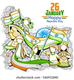 illustration of Indian kids waving tricolor flag celebrating Republic Day of India