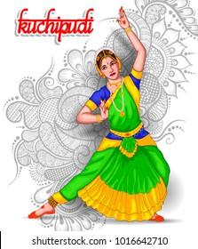 illustration of Indian Kuchipudi dance form