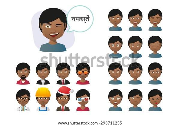 Illustration Indian Male Cartoon Avatar Saying Stock Vector