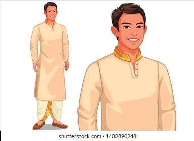 Illustration of Indian man with traditional outfit
