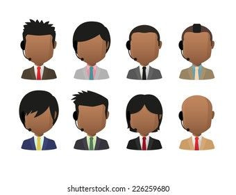 Illustration of indian men wearing suit and a headset faceless avatar set