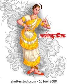 illustration of Indian mohiniyattam dance form