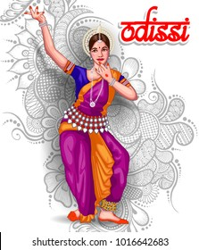 illustration of Indian odissi dance form