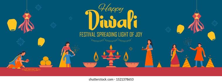 illustration of Indian people celebrating on Happy Diwali Hindu Holiday background for light festival of India
