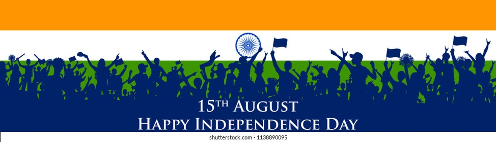 illustration of Indian people cheering on tricolor flag background for Happy Independence Day of India