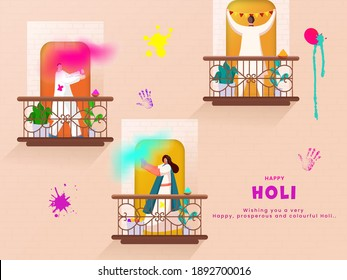 Illustration Of Indian People Enjoying Or Celebrating Holi Festival On Their Balconies.