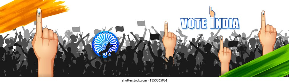 illustration of Indian people Hand with voting sign showing general election of India