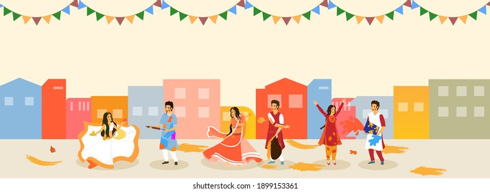 Illustration Of Indian People Play Holi By Coloring Each Other On Colorful Building Background.
