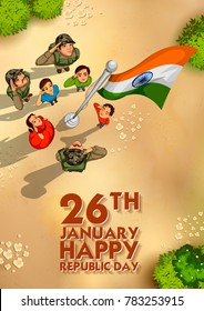 illustration of Indian people saluting flag of India with pride on Happy Republic Day