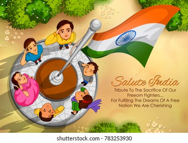 illustration of Indian people saluting flag of India with pride