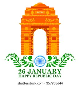 illustration of Indian Republic Day background with Floral Taj Maha