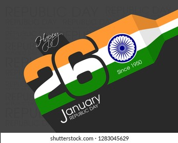 Illustration of Indian republic day,26th January vector.