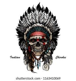 illustration of indian skull warrior