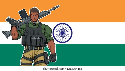 Illustration of Indian soldier with the flag of India in the background.