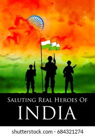 illustration of Indian soldier standing on tricolor flag of India backdrop
