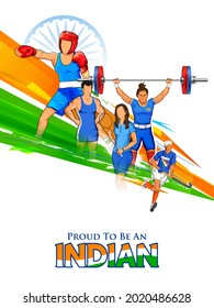 illustration of Indian sportsperson from different field  victory in Olympics championship on tricolor India background