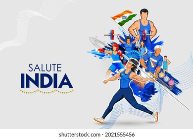 illustration of Indian sportsperson from different field  victory in championship on tricolor India background