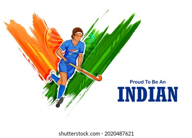 illustration of Indian sportsperson women field hockey player victory in Olympics championship on tricolor India background