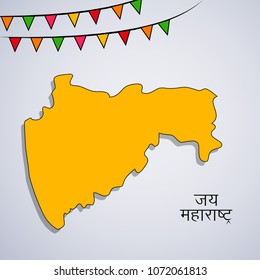 Illustration of Indian State Maharashtra with Hindi text Jai Maharashtra meaning long live Maharashtra