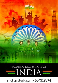 illustration of Indian tricolor background saluting real heroes of India showing armed force and women pilot