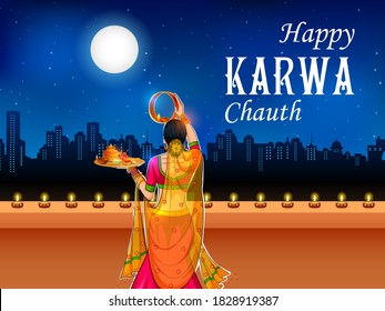 illustration of Indian woman performing Hindu married festival ritual of Karwa Cahuth looking moon through sieve