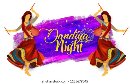 illustration of  Indian woman playing Garba in Dandiya Night Navratri Dussehra festival of India